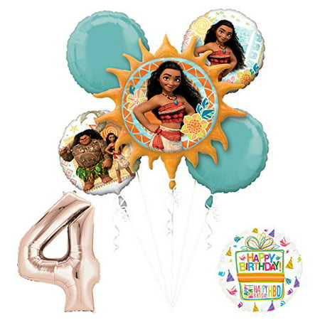 Birthday Princess Decorations (Moana 4th Birthday party Supplies and Princess Balloon Bouquet)