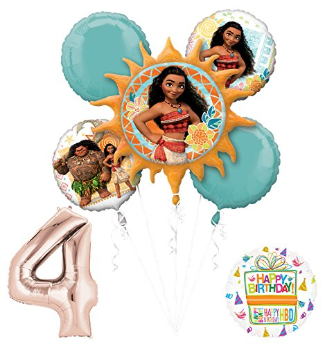 Moana 4th Birthday party Supplies and Princess Balloon Bouquet Decorations
