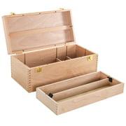 US Art Supply® Artist Wood Pastel, Pen, Marker Storage Box with Drawer(s) (Large Tool Box)