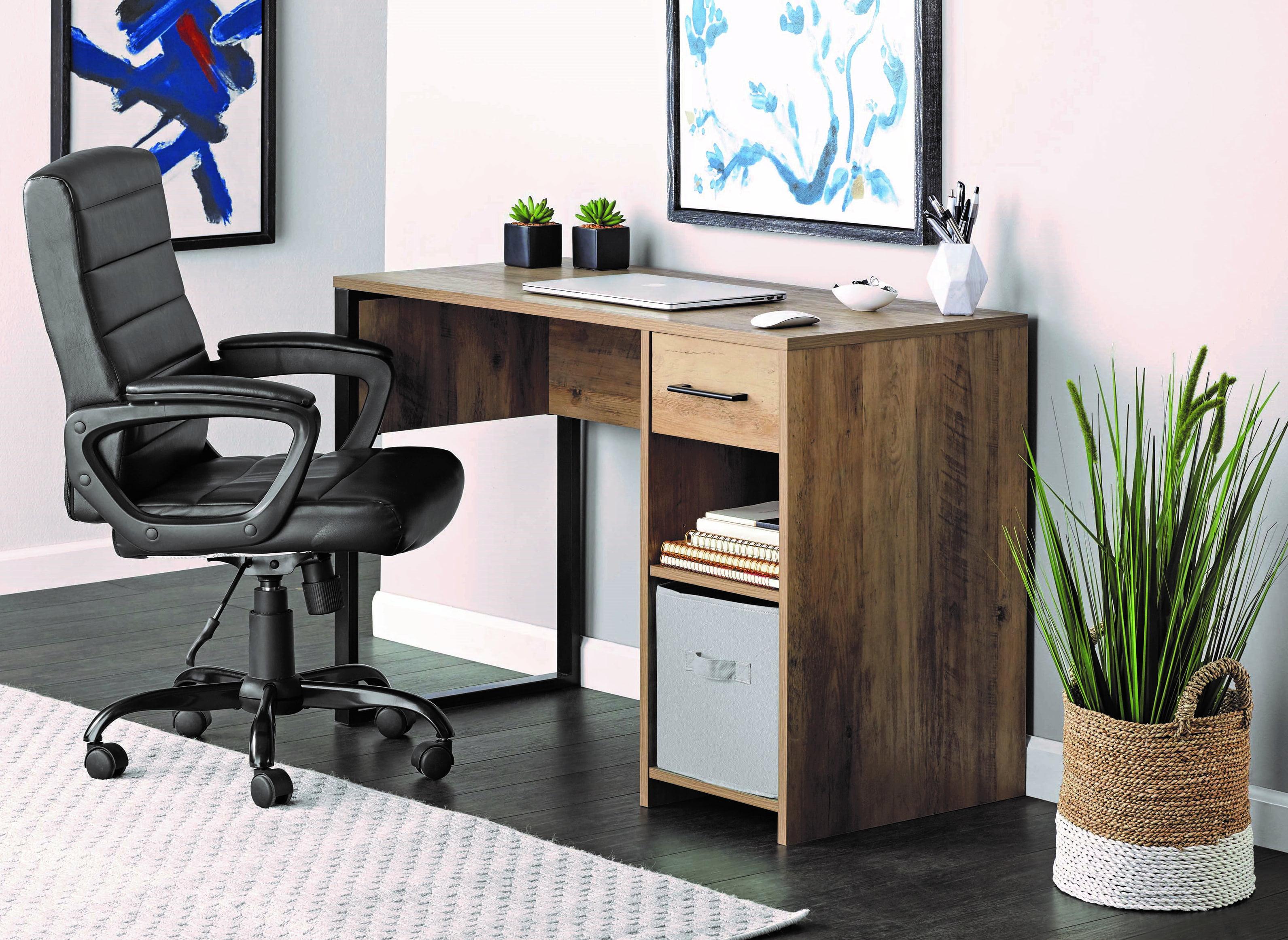 Mainstays Wood Metal Desk Rustic Weathered Oak Finish Walmart Com Walmart Com
