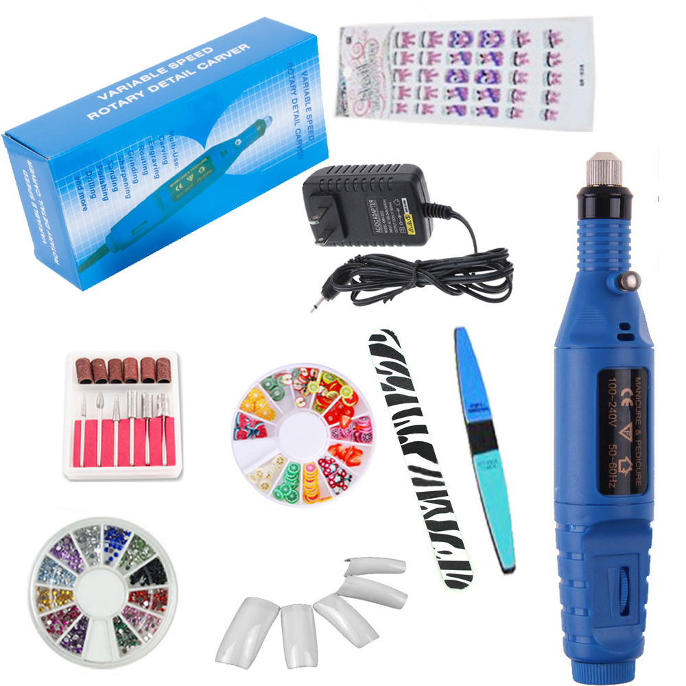 iMeshbean Professional Acrylic Blue Nail Art Drill KIT Electric File Buffer Bits Salon Pen Machine