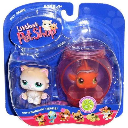 Littlest Pet Shop Pet Pairs Cat & Clown Fish Figures, 2 Pack (Littlest Pet Shop Shorthair Cats)