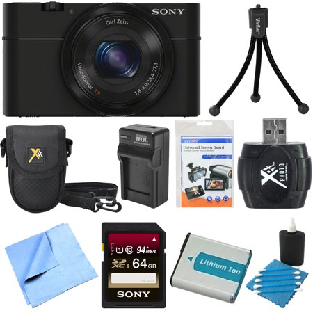Sony DSC-RX100 20.2 MP Exmor CMOS Sensor Digital Camera with 3.6x Zoom BUNDLE with Sony 32GB High Speed Class 10 SD Card (SF32UY/TQMN); Spare Battery; Deluxe Case; Card Reader; Mini Tripod; LCD Screen