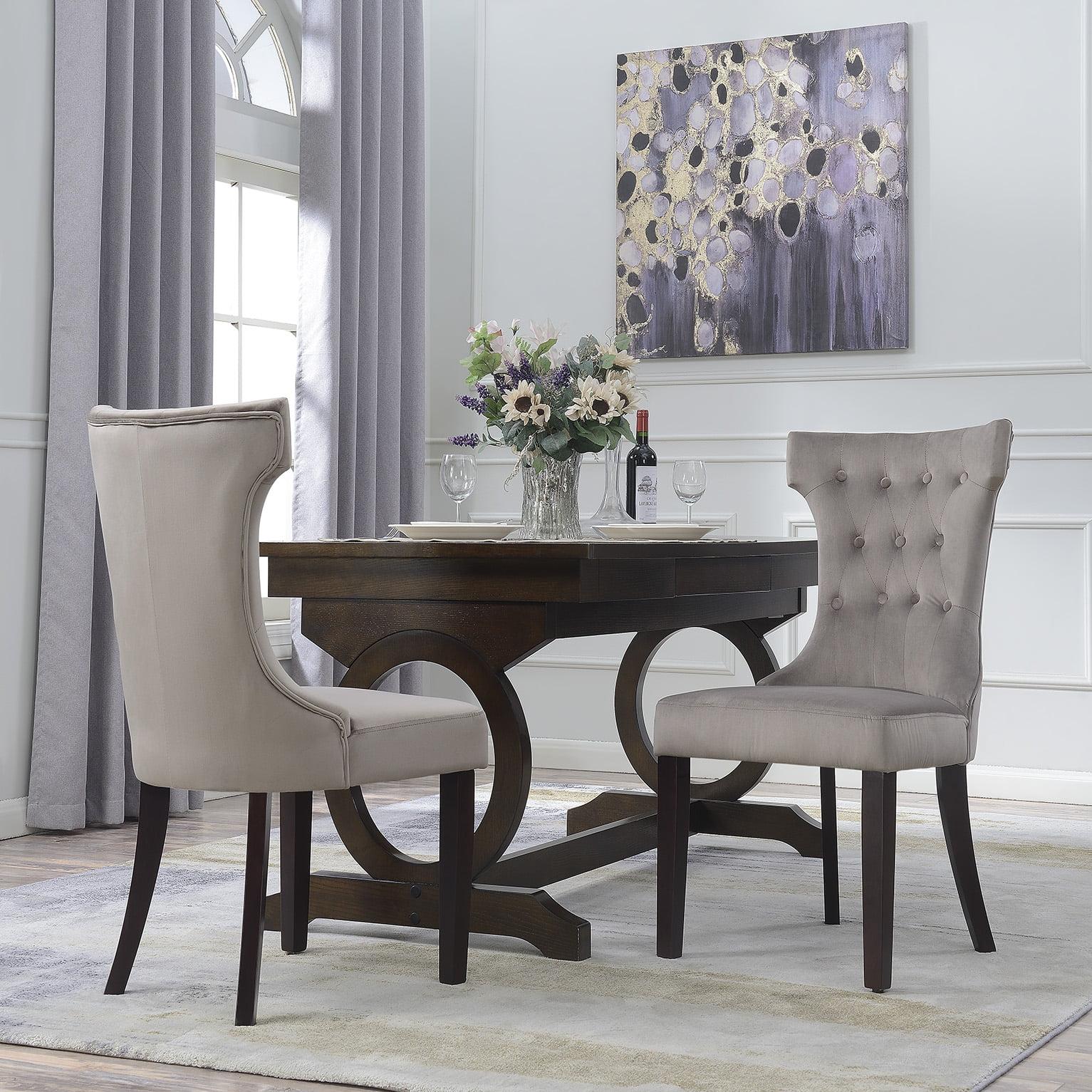 Belleze Set of 2, Elegant Tufted Upholestered Dining Chair High-Backrest, Taupe