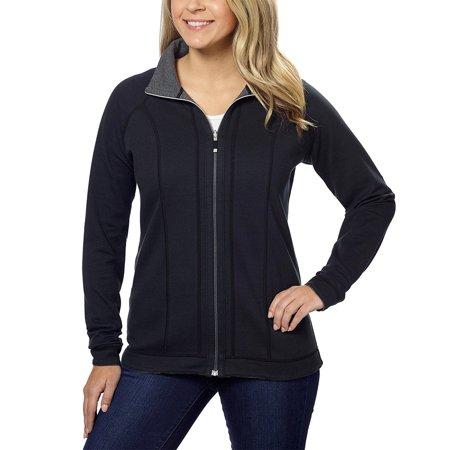 Kirkland Signature Women Reversible Raglan Sleeve Full Zip Jacket Black