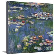 Water Lilies, 1916  Flowers Scenic Floral Stretched Canvas Print Wall Art By Claude Monet