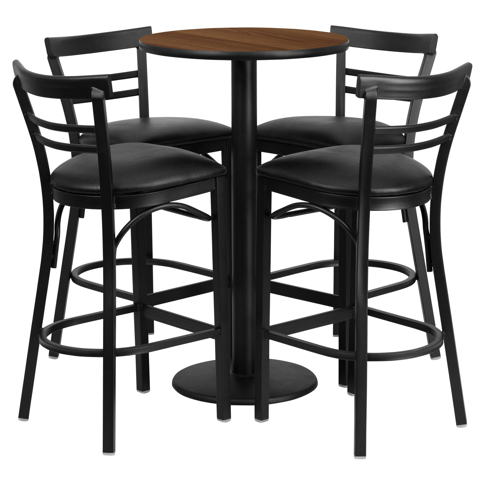 Flash Furniture 24'' Round Walnut Laminate Table Set with 4 Ladder Back Barstools, Black Vinyl Seat