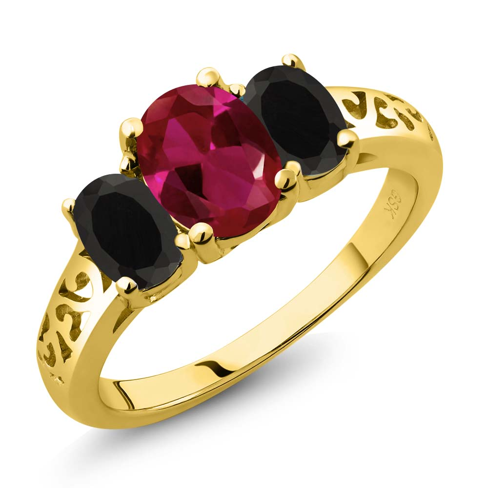 1.93 Ct Oval Red Created Ruby Black Onyx 18K Yellow Gold Plated Silver 3-Stone Ring