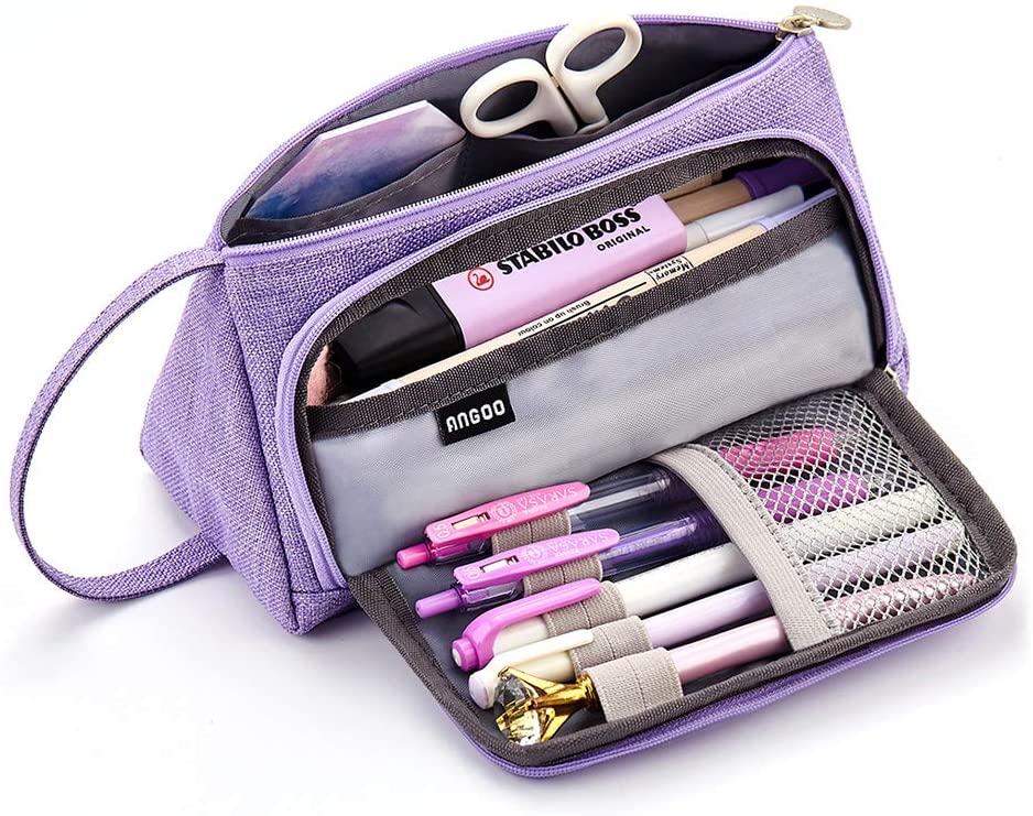 3 Compartments Pencil Bag for Girls Teens Adults Students School Office Supplies Black Makeup Bag Premium Canvas Pencil Case Pen Holder Big Capacity Pencil Pouch Stationery Bag with Zipper