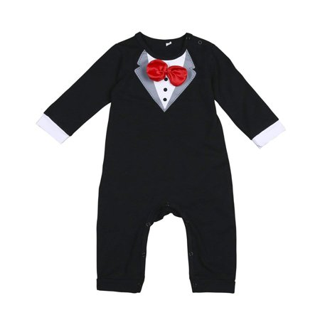 Baby Boy Gentleman Romper Newborn Formal Outfit Wedding Suit Long Sleeve with (Romper Suit)