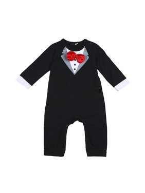 0eaee4c59593d Product Image Baby Boy Gentleman Romper Newborn Formal Outfit Wedding Suit  Long Sleeve with Bowtie