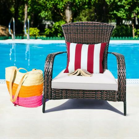 Costway Outdoor Wicker Rattan Patio Porch Deck Adirondack Chair Seat Cushion Mix Brown
