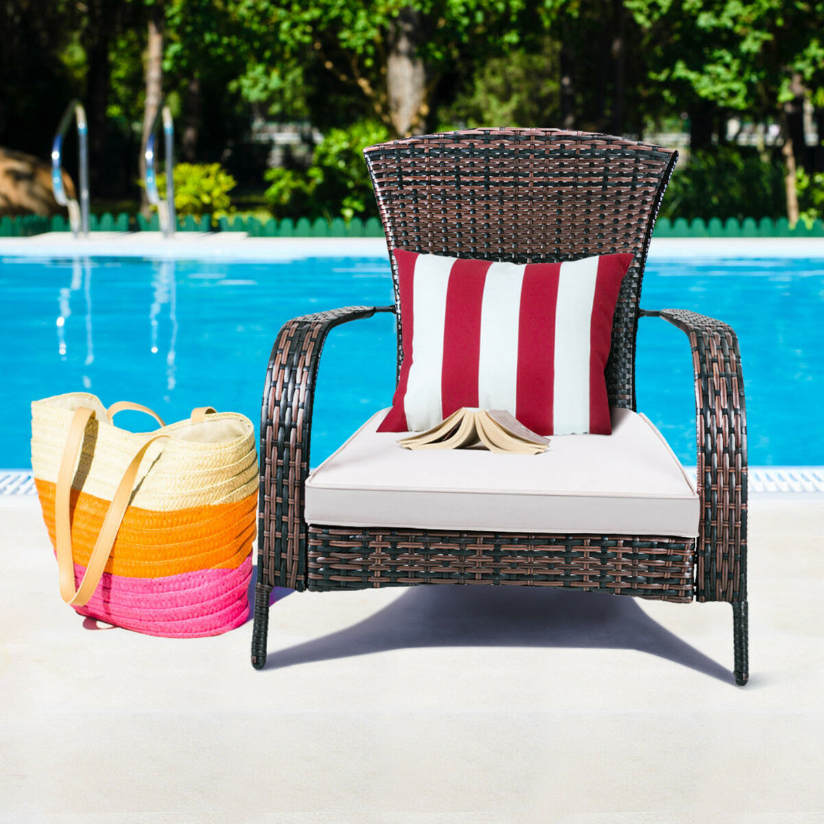 Costway Outdoor Wicker Rattan Patio Porch Deck Adirondack Chair Seat Cushion Mix Brown