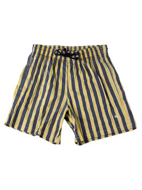 Men's Striped Swim Trunks Grey/Yellow/White