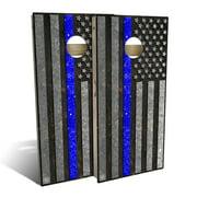 American Flag Thin Blue Line Cornhole Board Set - Choose Your Size & Accessories