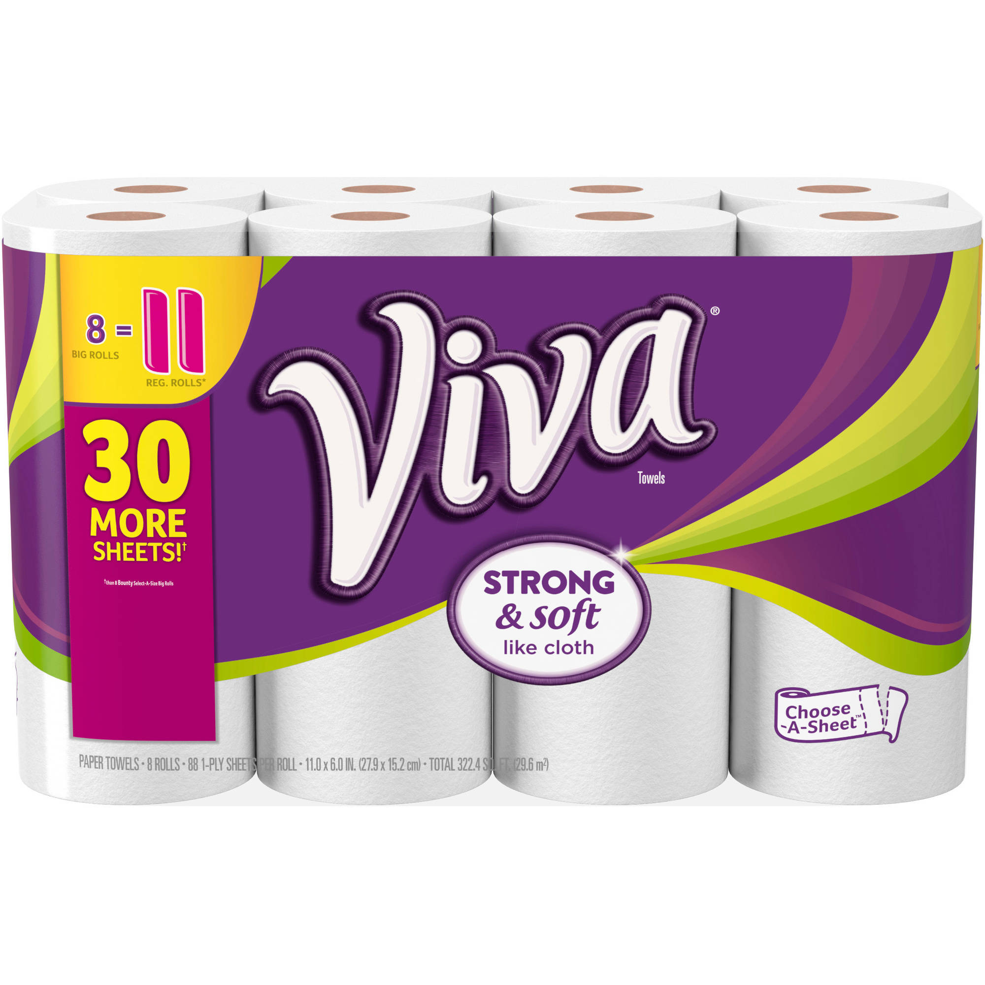 VIVA Choose-a-Sheet Big Roll Paper Towels, White, 88 sheets, 8 rolls