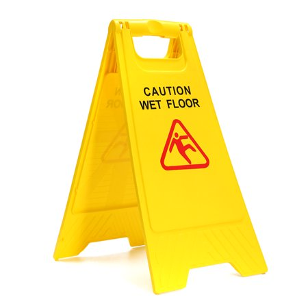 Safety Sign Caution Wet Floor Warning Hazard Cleaning Trolleys Slippery Wet Floor Sign Both Sides Home Office Shopping Center Public Toilet ()