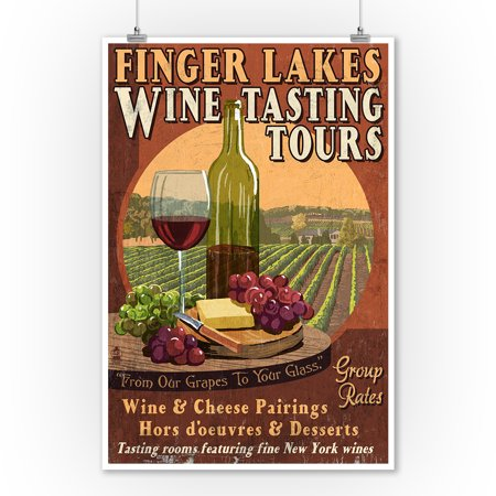 Finger Lakes, New York - Wine Tasting Vintage Sign - Lantern Press Artwork (9x12 Art Print, Wall Decor Travel