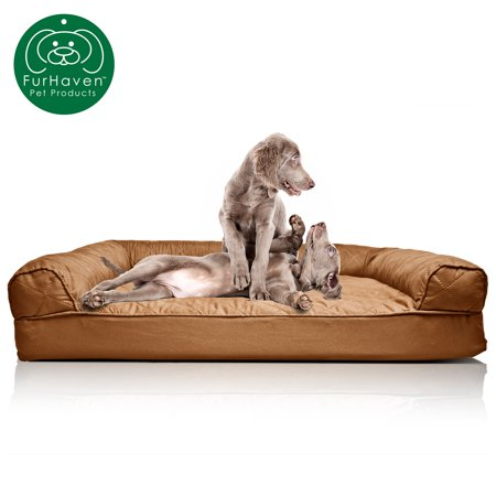 FurHaven Pet Dog Bed | Orthopedic Quilted Sofa-Style Couch Pet Bed for Dogs & Cats, Toasted Brown, Jumbo Caddis Cat Bed