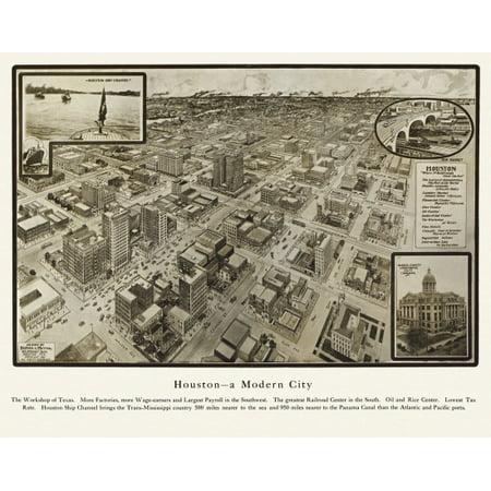 Halloween Decorations Houston Texas (Vintage Map of Houston Texas 1912 Harris County Poster)