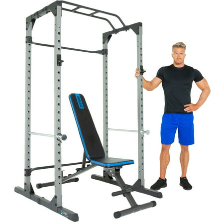 Progear 1600 Ultra Strength 800lb Weight Capacity Power Rack Cage with Lock-in J-Hooks & Weight Bench with 800lb Weight Capacity