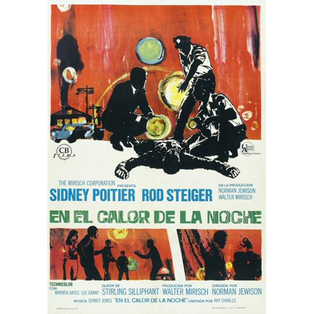 In The Heat Of The Night Poster Art From Spain From Left Sidney Poitier Rod Steiger 1967 Movie Poster Masterprint - Posters In Spanish