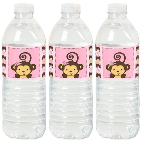 Pink Monkey Girl - Baby Shower or Birthday Party Water Bottle Sticker Labels - Set of