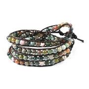 "Faux Leather Agate Round Bead Strand Multi Wear Wrap Bracelet Silvertone Fashion Jewelry 7"""