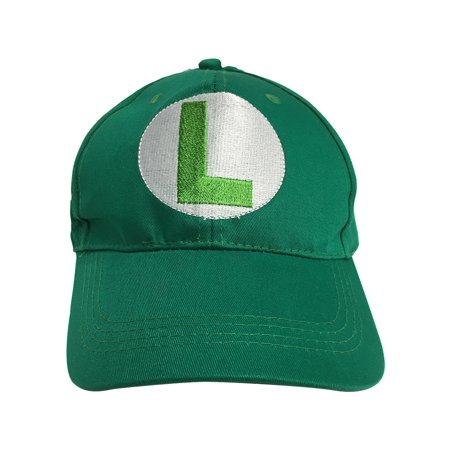 Luigi L Logo Green Baseball Cap Hat Super Mario Brothers Costume Nintendo - Mario And Luigi Hat