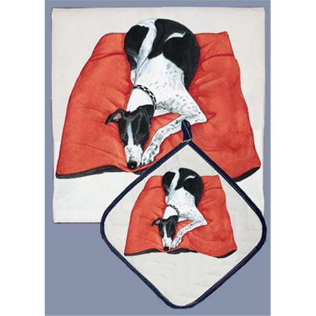 Pipsqueak Productions DP957 Dish Towel and Pot Holder Set - Greyhound Bl/Wh