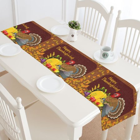MYPOP Happy Thanksgiving Day Table Runner Home Decor 14x72 Inch,Thanksgiving Turkey Pumpkin Fruit Table Cloth Runner for Wedding Party Banquet Decoration ()