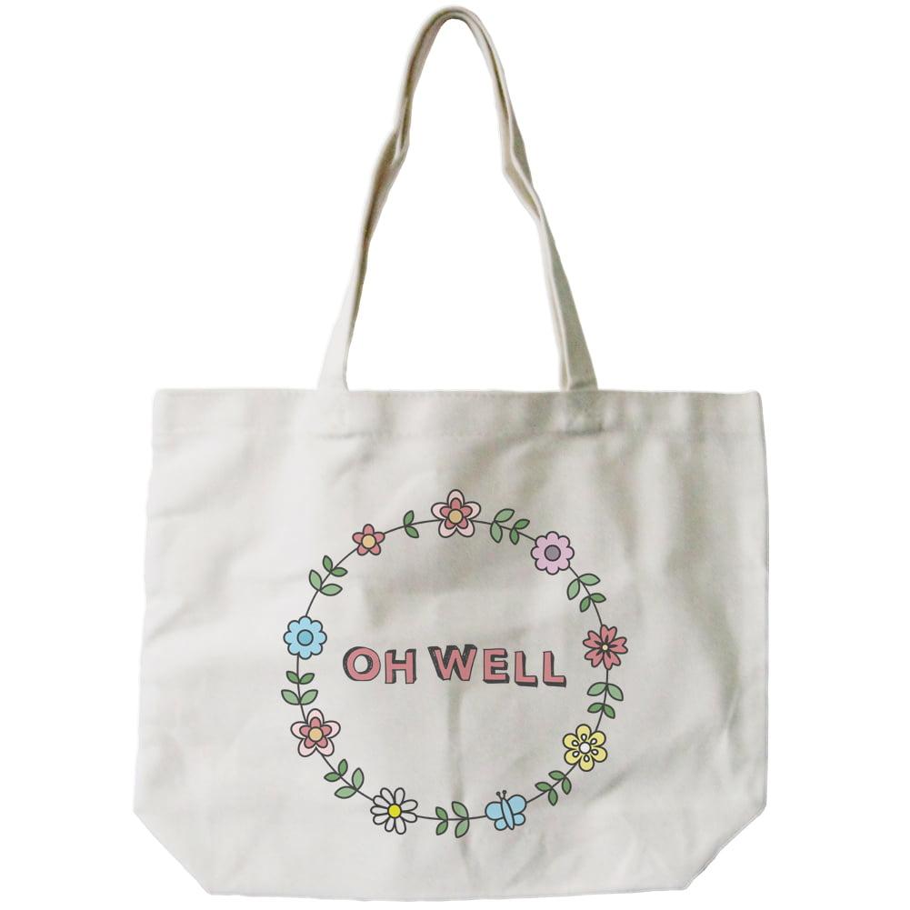 Womenu0026#39;s Canvas Bag- Cute Floral Design U0026quot;Oh Wellu0026quot; Canvas Tote Bag Natural - Walmart.com
