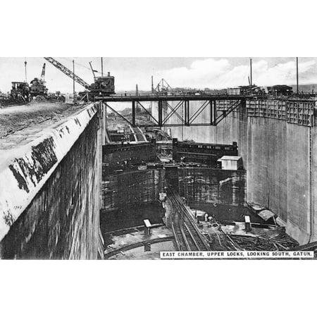 Panama Canal 1910S Nconstruction Of The Upper Gatun Locks Of The Panama Canal Original Souvenir Photopostcard From Panama City Rolled Canvas Art -  (24 x