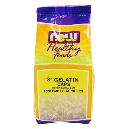 NOW Foods - Gelatin Empty Capsules '3' Size (Extra Small Size) - 1000 Gelcaps ()