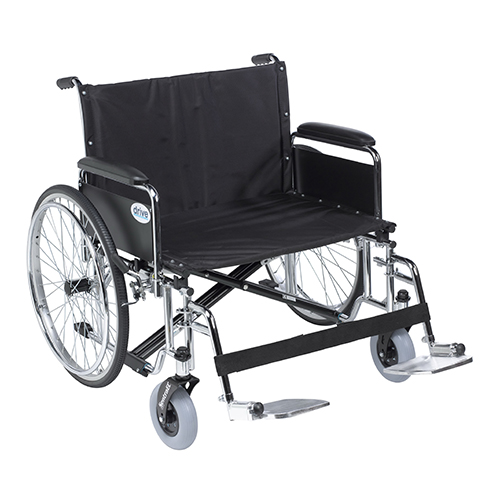 Drive Medical Sentra EC Heavy Duty Wheelchair with Detachable Full Arm and Swing Away Footrests, 28 inch Seat