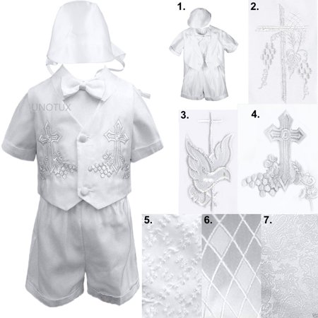 New Infant Toddler Boys Christening Baptism Vest Set Outfits White from Baby- 4T