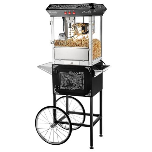 Great Northern Popcorn Black Old Time Popcorn Popper Machine with Cart, 8 Oz