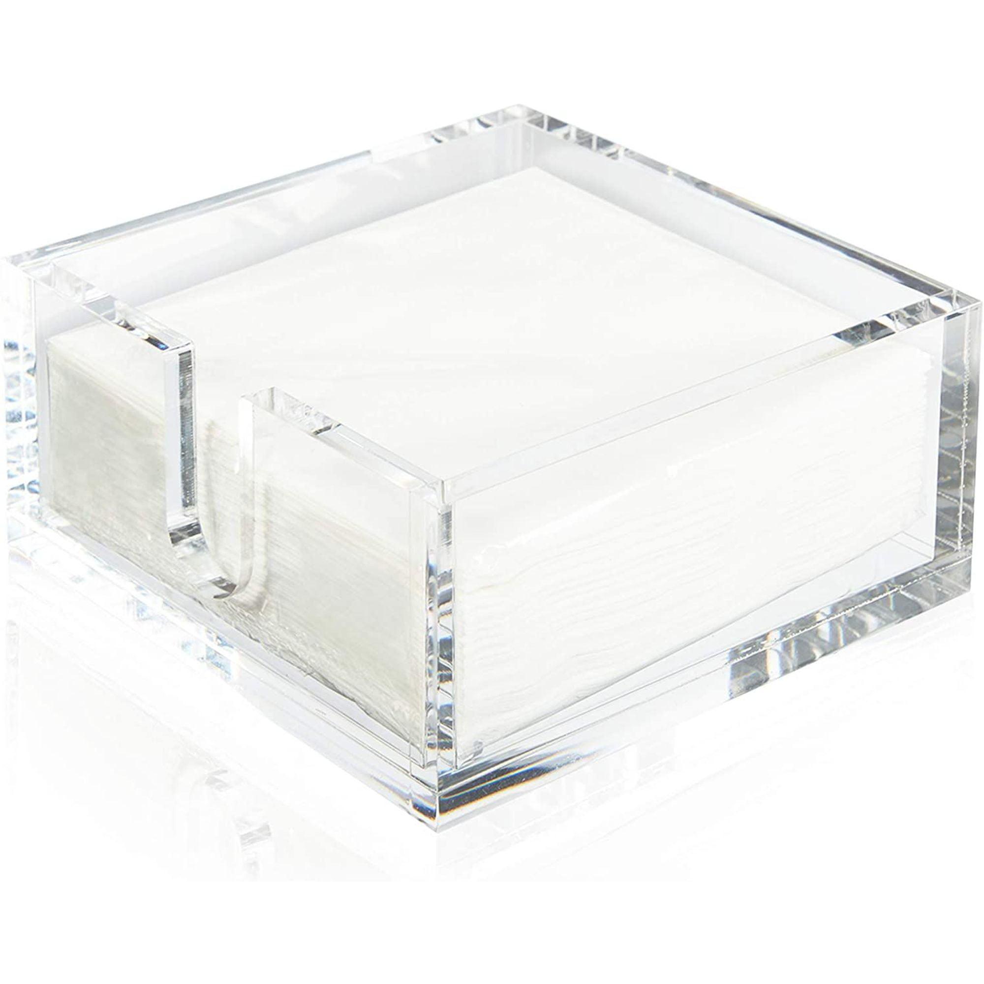 Clear Acrylic Flat Napkin Holder For Kitchen With 50 White Napkin Set 5 8 X5 8 X2 6 Walmart Com Walmart Com