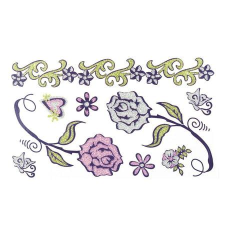 Lady Flower Pattern Removable Body Art Paper Sticker Temporary Tattoo Sheet - image 2 de 2