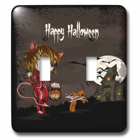 3dRose Happy Halloween Devil Girl Trick Or Treating Haunted House Spooky Halloween Scene - Double Toggle Switch (lsp_129770_2) - Happy Halloween Trick Or Treating