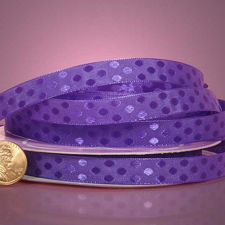 Satin Poka Dot - Purple Beautiful 3/8 inches x 25 yards Glossy Shiney Polka Dot Satin Decorative Ribbon