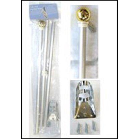 Foot Flagpole - Aluminum Silver Flag Pole BALL 6ft Wall Mount Flagpole Set 6 Foot