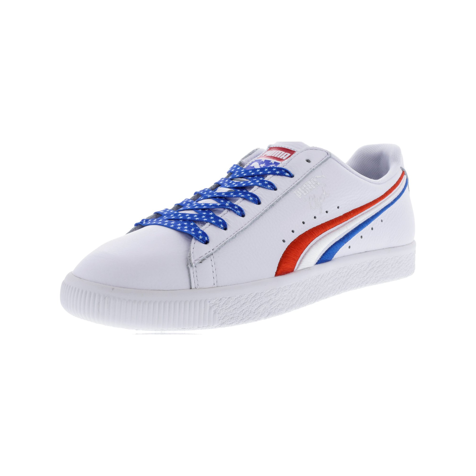 reputable site e1fdc 5b927 Puma Men's Clyde 4Th Of July High Risk Red / Royal White Ankle-High Leather  Fashion Sneaker - 10.5M