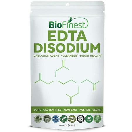 Biofinest EDTA Disodium Powder - Pure Gluten-Free Non-GMO Kosher Vegan Friendly - Supplement for Heart Health, Cleansing, Chelation Agent(500g)