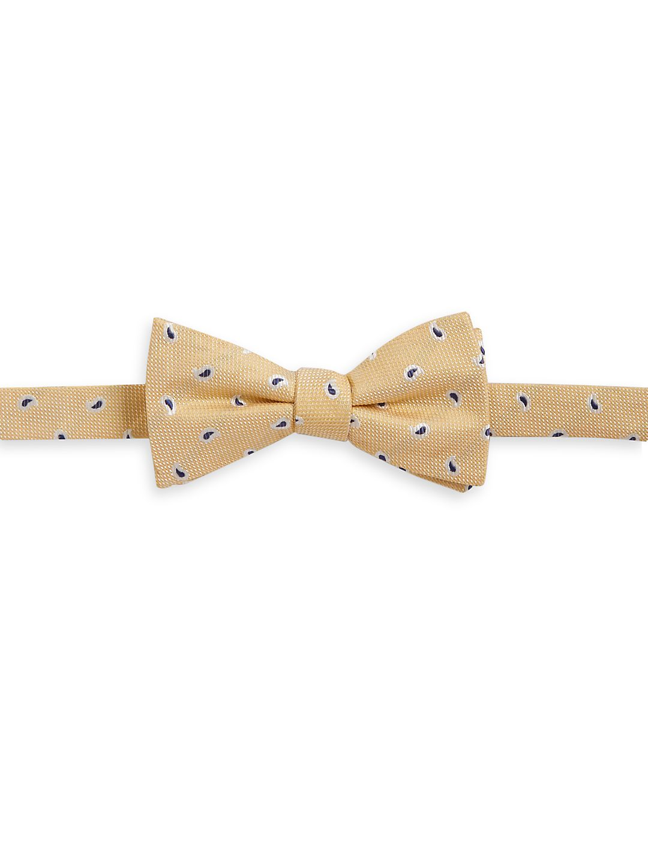 Paisley-Stitch Silk Bow Tie
