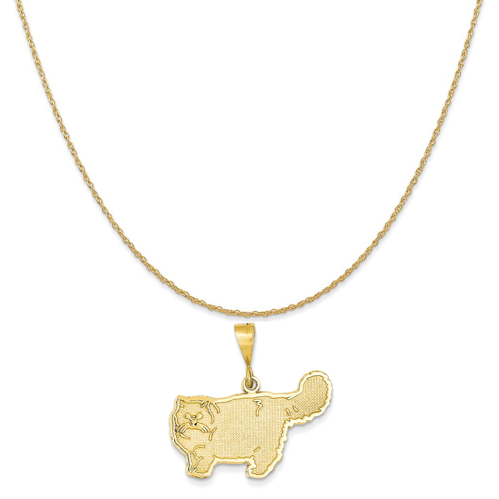 14k Yellow Gold Persian Cat Pendant on a 14K Yellow Gold Rope Chain Necklace, 20""