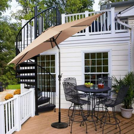 Costway 10 FT Patio Umbrella Patio Market Steel Tilt W/ Crank Outdoor Yard Garden