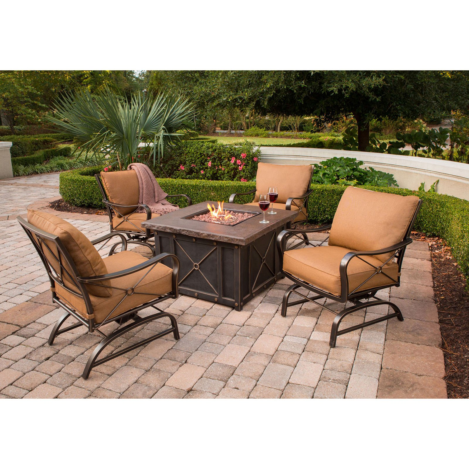 Hanover Outdoor Summer Nights Aluminum 5-Piece Lounge Set with DuraStone Fire Pit Table, Desert Sunset