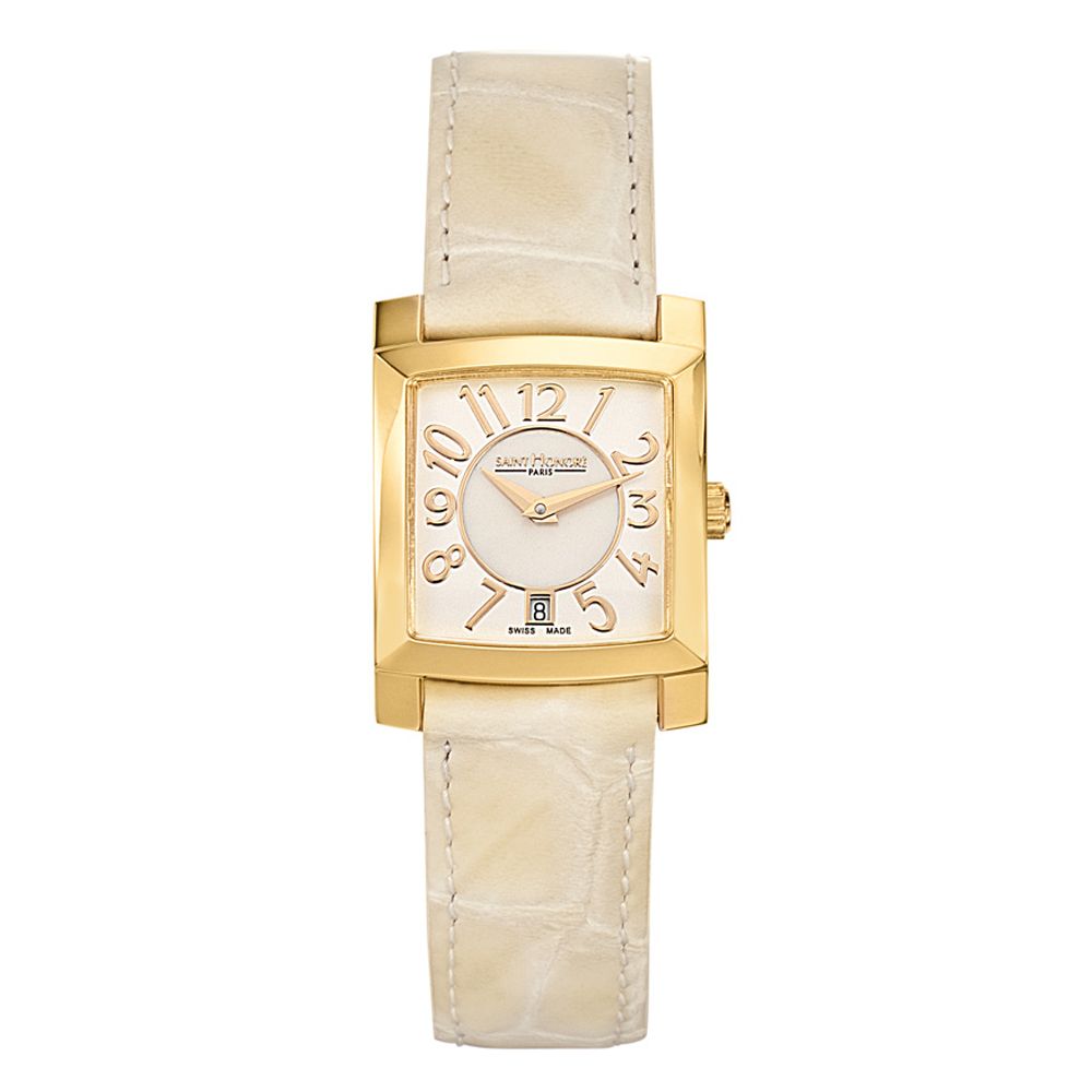 Saint Honore Women's Orsay Beige Leather Band Gold Plated...
