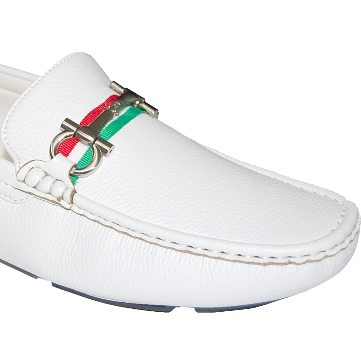 KRAZY SHOE ARTISTS Green White and Red Handcrafted Ornament Mens Loafers
